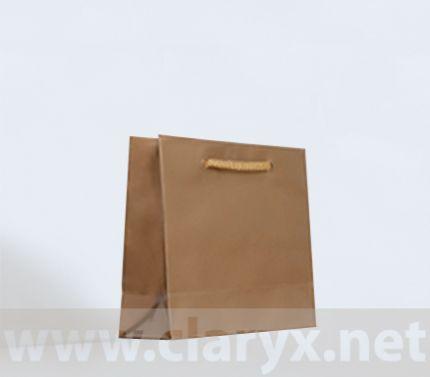 Ламинирани хартиени торби 16+7x15см, златни, 10бр.
