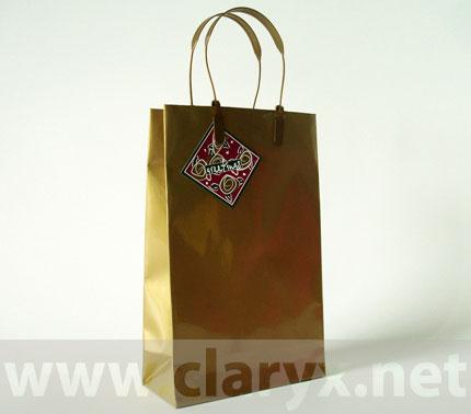 Хартиени торби 16+7x25см, В2/Л, златни, PVC, 10бр.