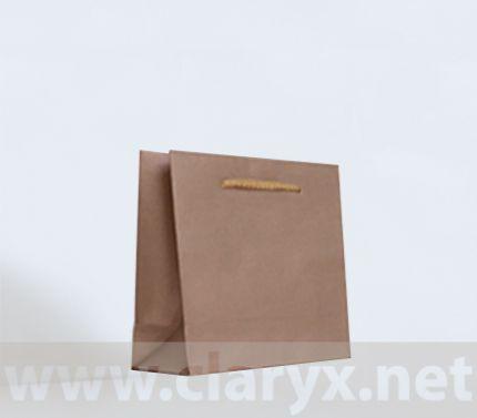 Крафт хартиени торби 16+7x15см, златни, 10бр.