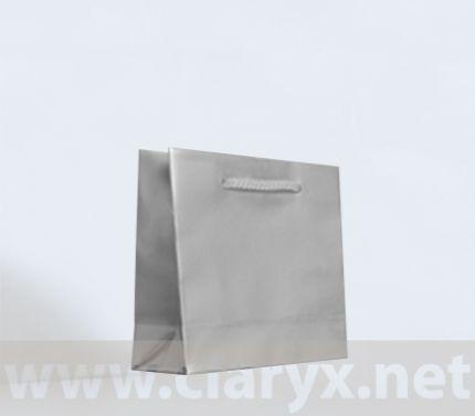 Ламинирани хартиени торбички 16+7x15см, сребърни, 10бр.