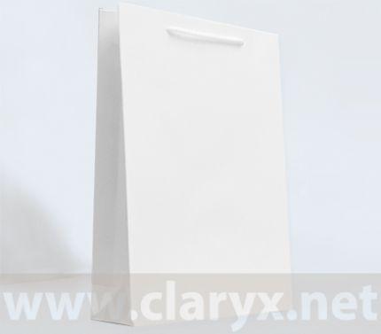Хартиени торби 24+9x36см, бял крафт, 50бр.