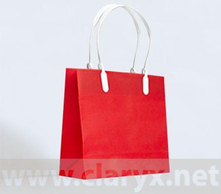 Хартиени торбички 16+7x15см, В1/К, червени, 10бр., PVC дръжки